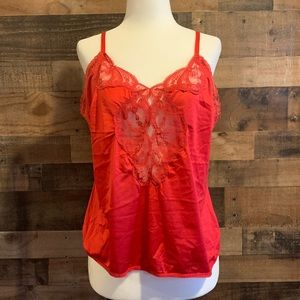 Vintage 90's red lacy chemise slip camisole